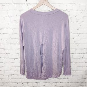 LAmade Pullover High Low Tie Back Long Sleeve Top Lavender Size Small NWT
